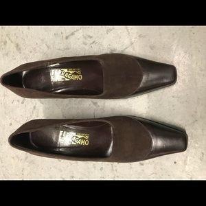 Salvatore Ferragamo brown leather & suede heels